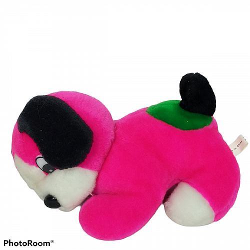 "Pink White Green Puppy Dog Plush Stuffed Animal 7.5"""