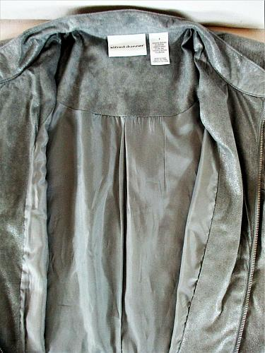 ALFRED DUNNER womens Sz 8 L/S gray SOFT FAUX SEUDE full zip lined jacket (F)