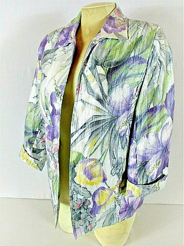 ALFRED DUNNER womens Sz 8 3/4 sleeve purple white green RAYON lined jacket (C5)