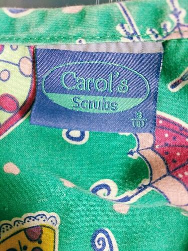 Carol's Scrubs Women's Scrub Top Umbrella Hearts Short Sleeve Size Small
