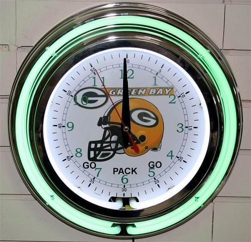 "13"" Neon Green Bay Packers Wall Clock Garage Man Cave Pub Bar Signs Home Decor"