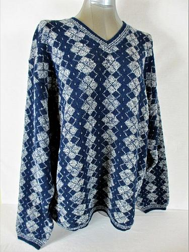 PURE & SIMPLE mens 2XL L/S BLUE WHITE Wool & Lambs wool blend SWEATER NWT (A3)P