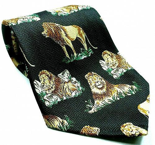 Lion On Rock Animal Nature Big Cat Feline Lion Mane Novelty Necktie