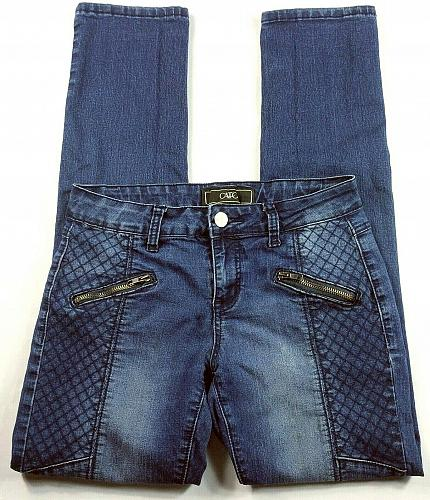 CATO Women's Jeans Size 4 Contemporary Straight Waffle Pattern Zip Pockets