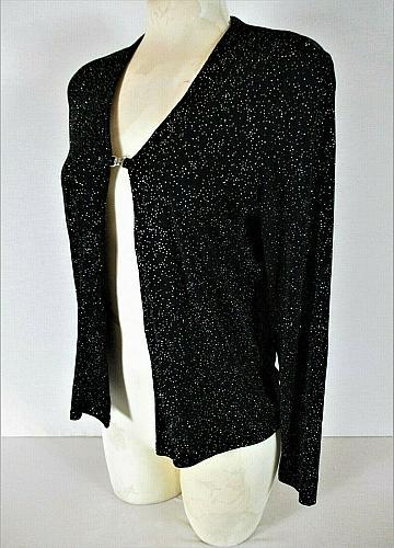 BENTLEY womens Medium L/S black RAINBOW GLITTER clasp closure jacket (C3)