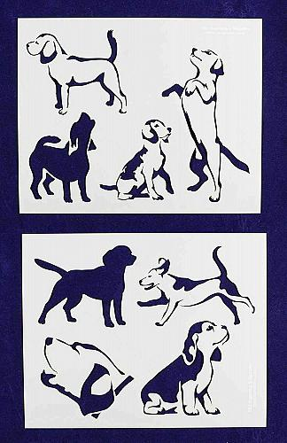 """Beagle Dog Stencils-Mylar 2 Pieces of 14 Mil 8"""" X 10"""" - Painting /Crafts/ Templa"""