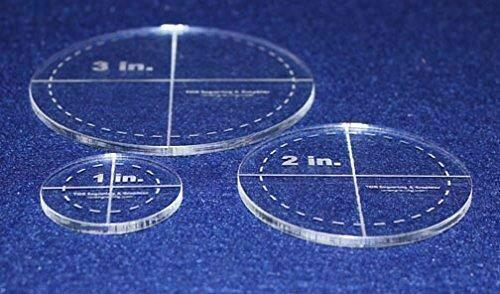"""Circle Template 3 Piece Set. 1"""", 2"""", 3"""" w/seam - Clear 1/8"""" Thick"""