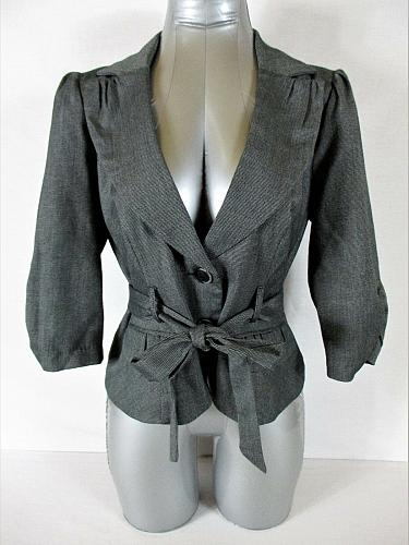 MY MICHELLE womens Large 3/4 sleeve gray 2 button BELTED jacket (A5)