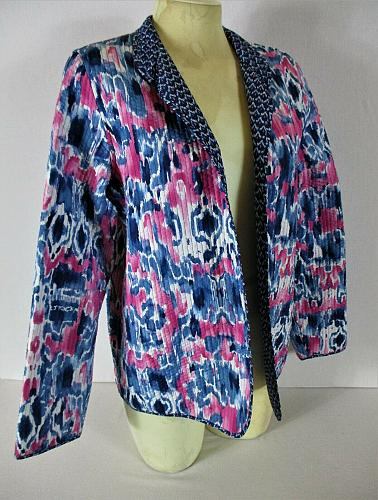 ALFRED DUNNER womens Sz 8 L/S blue pink white QUILTED open front jacket (B8)