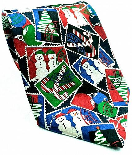 Christmas Tree Snowman Candy Cane Ornaments Postage Stamp Novelty Silk Necktie