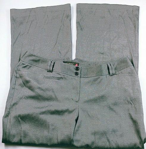 Lane Bryant Women's Dress Pants Size 3 Gray Herringbone Flare Leg Stretch