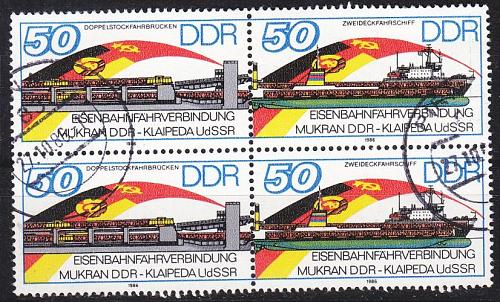 GERMANY DDR [1986] MiNr 3052+53 Zdr 4er ( OO/used ) Schiffe