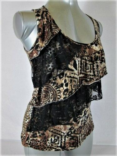Love J womens Medium BROWN BLACK WHITE LACE TIERED STRETCH TANK TOP BLOUSE (R)P