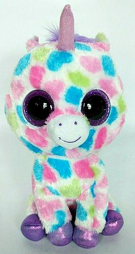 Ty Beanie Boo Wishful Pink Unicorn Glitter Eyes Plush Animal 2015 10.5""
