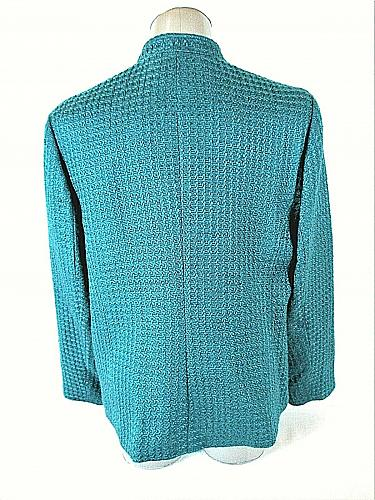 JM COLLECTION womens Sz 16 L/S green TEXTURED button down LINED jacket (A9)P