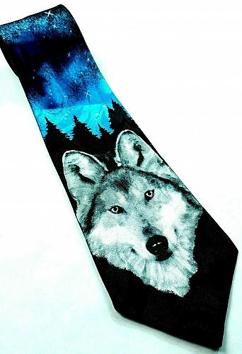 Wolf Night Sky Stars Outdoor Nature Wildlife Animal Print Novelty Tie