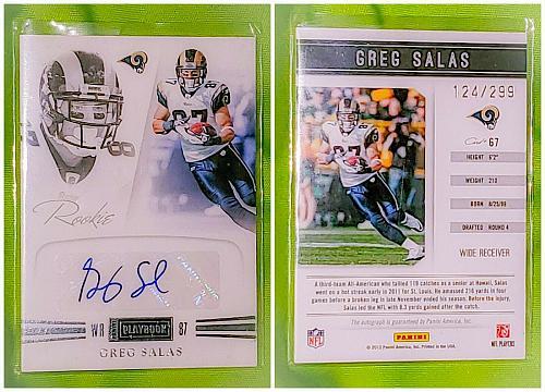 NFL Greg Salas St Louis Rams Autographed 2012 panini Playbook Rookie /299 Nmnt