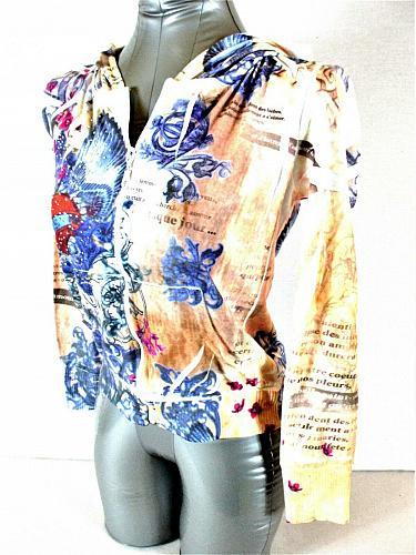 VIXEN womens Medium juniors L/S blue red tan RHINESTONES zip HOODED jacket (B6)P