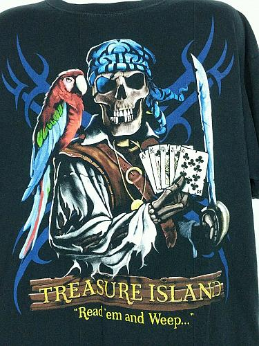 Treasure Island Read'em And Weep Pirate Parrot Playing Cards Men's T Shirt 2X