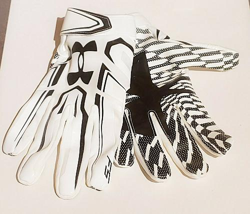Under Armour UA Adult Men Large LG Black/White Football RECEIVER Gloves NWOT