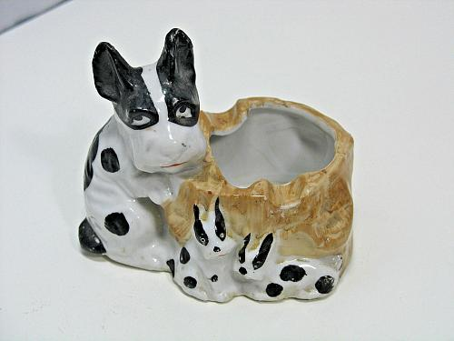 Vintage Porcelain Ashtray Dog and Puppies Figural Snuffer Japan