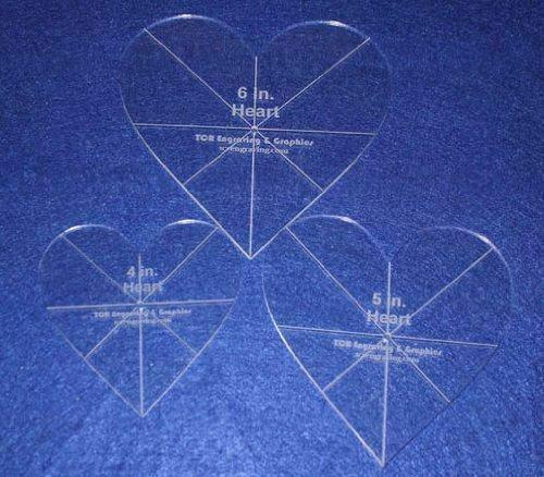 """Heart Template 3 Piece Set. 4"""",5"""",6"""" - Clear 1/8"""" Thick w/ guidelines"""