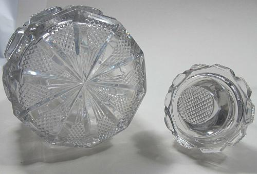 Early Hand Cut glass decanter crosscut cut in pattern stopper Antique