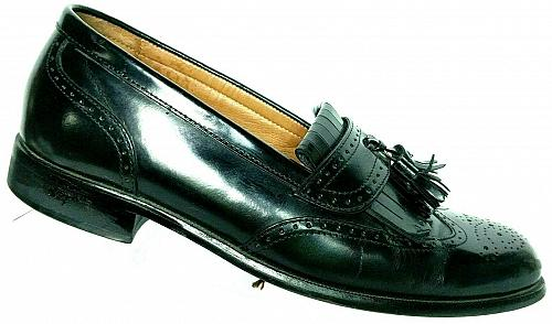Bostonian First Flex Men's Black Leather Wingtip Tassel Loafer Shoe 7.5 M