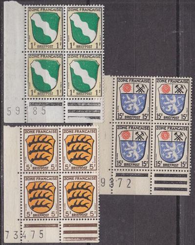 GERMANY Alliiert Franz. Zone [Allgemein] MiNr 0001 Bog ( **/mnh ) [01] 3x 4er BogenNr