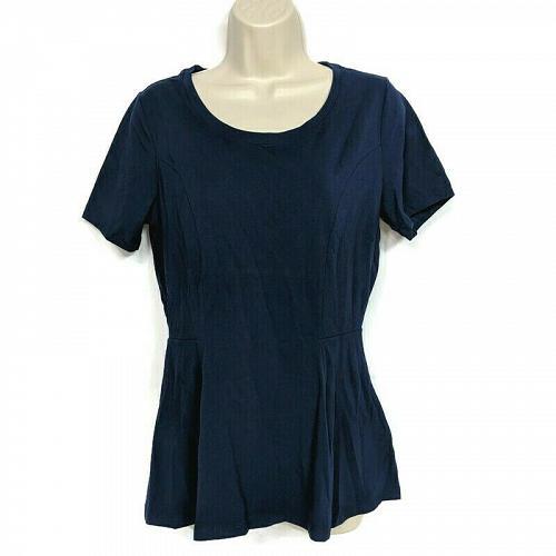 Isaac Mizrahi Live! Womens Short-Sleeve Seamed Peplum Knit Top Size XS Blue