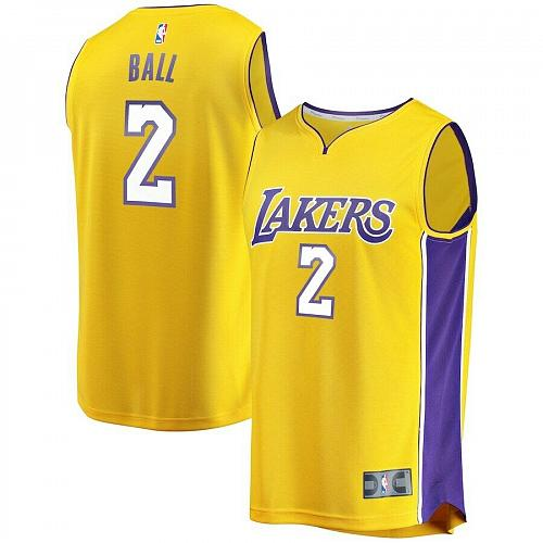 NEW Los Angeles Lakers Lonzo Ball Branded Gold Break Replica Jersey all Sizes