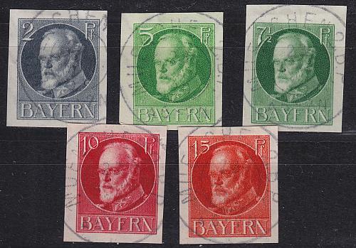 GERMANY Bayern Bavaria [1916] MiNr 0110-15 B ( O/used )