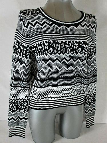 H&M DIVIDED womens Medium L/S black white CROPPED sweater (B2)P