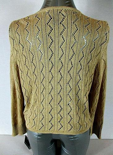 APOSTROPHE womens XL 16-18 L/S gold METALLIC tie front cardigan sweater NWT (C)