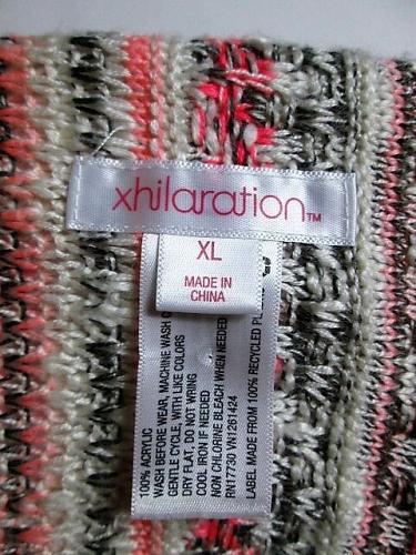 XHILARATION womens XL L/S PINK GRAY WHITE BUTTON LESS CARDIGAN SWEATER (J)P