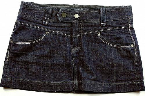 Express Women's A Line Jean Skirt Flat Front Size 4 Solid Blue Denim 4 Pocket