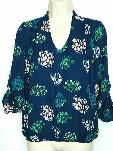 NWT Dragonfly Womens Floral Blouse Top Size XS Blue Plunge Neck Long Sleeve