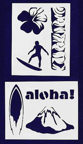 Hawaiian Stencils -2 pc set-Mylar 14mil - Painting /Crafts/ Templates