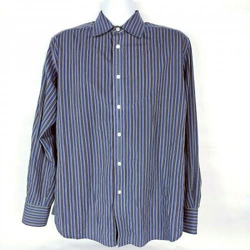 Robert Graham Men's Button Down Shirt Large Long Sleeve Striped Blue