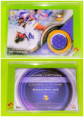 NFL Cordarrelle Patterson Minnesota Vikings 2015 Bowman Game-worn Jersey Relic
