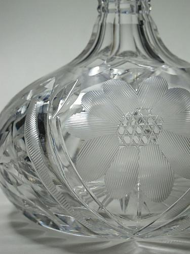 Hand Cut glass wheel etched wine decanter glass Hand cut