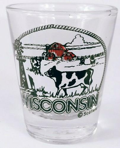 "Wisconsin Dairy Cow Holstein Barn Windmill 2.25"" Collectible Shot Glass"