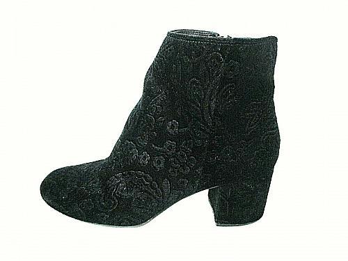 Zigi soho Black Faux Suede Floral Zip Up Ankle Boots Shoes Women's 7.5 (SW18)