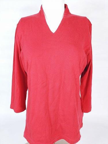 Liz Claiborne Petite Women's Shirt Size PL Long Sleeve Red 100% Cotton