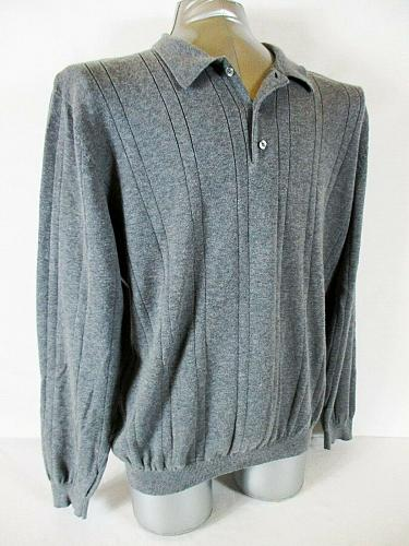FIELD GEAR mens Large tall L/S gray 100% cotton POLO GOLF sweater (A7)