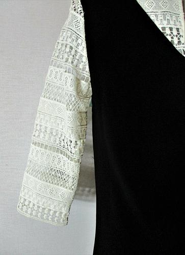 CECE womens Sz 4 3/4 LACE sleeves rich black FULLY LINED dress NWT (B5)P