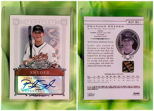 MLB BRANDON SNYDER ORIOLES AUTOGRAPHED 2008 BOWMAN STERLING PROSPECTS RC MINT