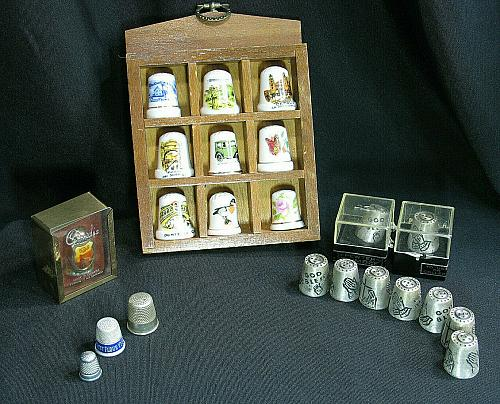 LOT of Thimbles with Holder Bird Butterfly Car God Child's Reesor's Pewter China