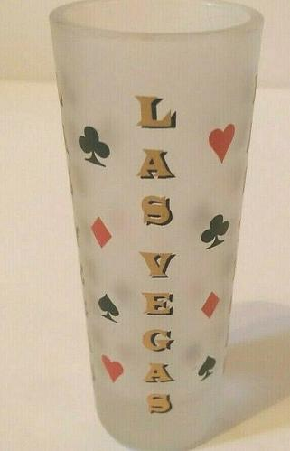 """Las Vegas Hearts Clubs Diamonds Spades 4"""" Frosted Collectible Shot Glass"""