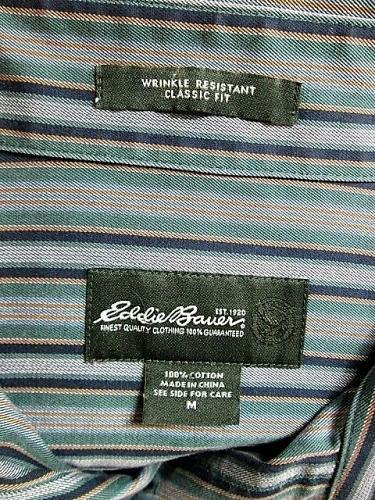 EDDIE BAUER mens Medium L/S GREEN BLUE STRIPED POCKET BUTTON UP SHIRT (T)P